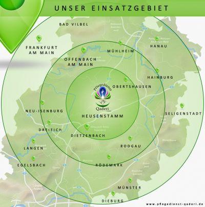 Einsatzgebiet Pflegedienst Qaderi GmbH Heusenstamm